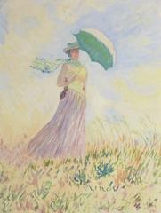 Vintage French Painting - Parasol & Pastels