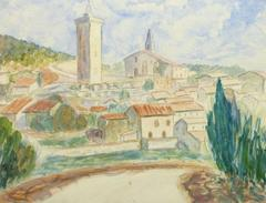 Vintage French Watercolor - Town of Provence