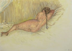 Vintage French Watercolor - Sleeping Nude