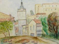Vintage French Watercolor - Clock Tower