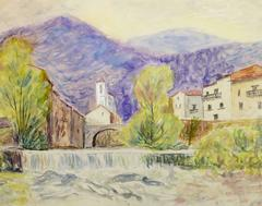 Vintage French Watercolor - Upper Provence