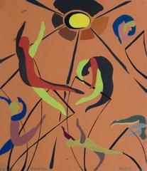 Vintage French Abstract Painting - Trapeze Artists