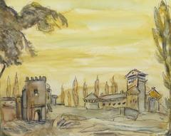 Vintage Italian Watercolor & Ink - Italian Castle