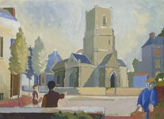 Vintage Landscape Painting - English Town