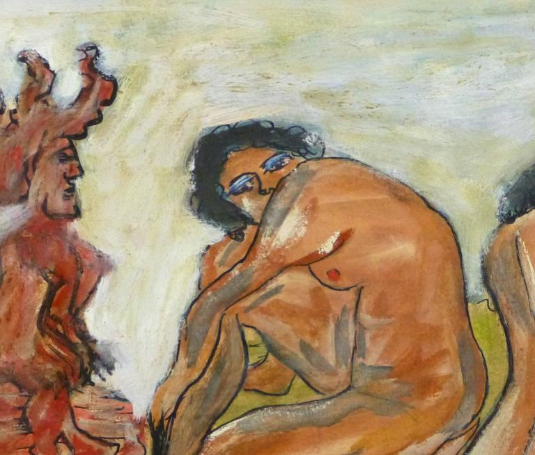 Abstract Female Nude - The Watcher - Brown Nude Painting by Lilian Coket