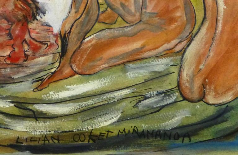 Abstract Female Nude - The Watcher - Painting by Lilian Coket