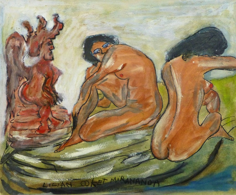 Lilian Coket Nude Painting - Abstract Female Nude - The Watcher