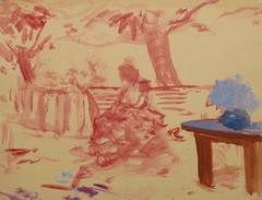 Vintage French Watercolor - The Red Bench