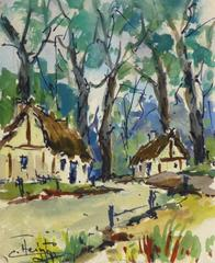 Vintage French Watercolor - Bourgade