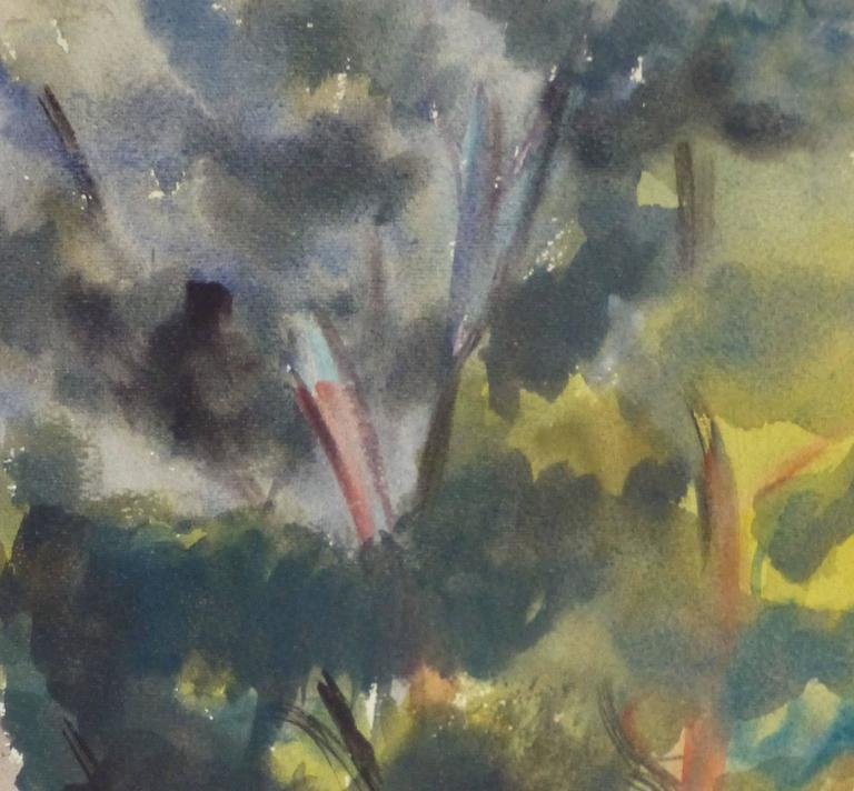 Vintage French Watercolor - Lone Arbor - Gray Landscape Art by Unknown