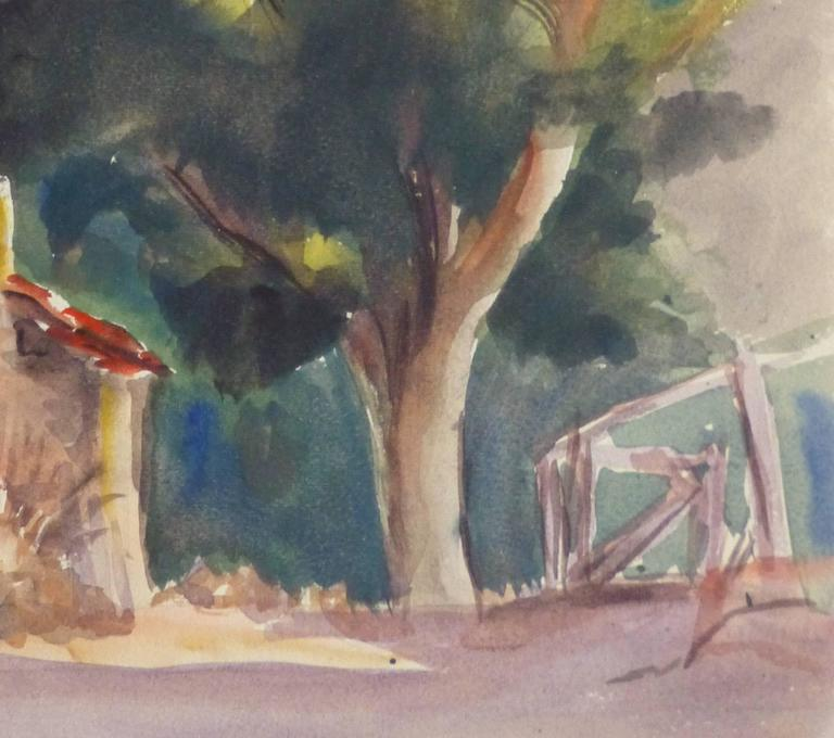 Vintage French Watercolor - Lone Arbor - Art by Unknown