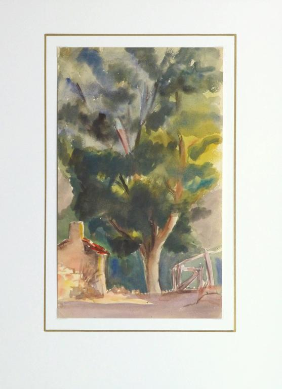 Distinctive watercolor of a lush and towering tree framed by rustic farm buildings by French artist E. d'Orval, circa 1930.   Original artwork on paper displayed on a white mat with a gold border. Mat fits a standard-size frame. Archival plastic