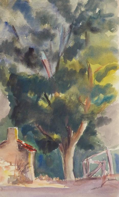 Unknown Landscape Art - Vintage French Watercolor - Lone Arbor