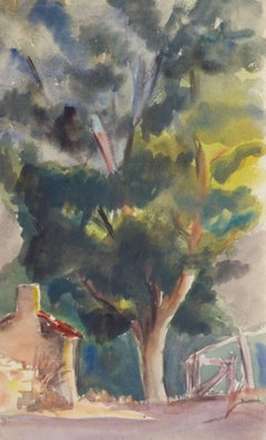 Vintage French Watercolor - Lone Arbor