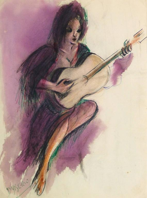 Vintage Watercolor and Ink Painting - Flamenco Guitarist