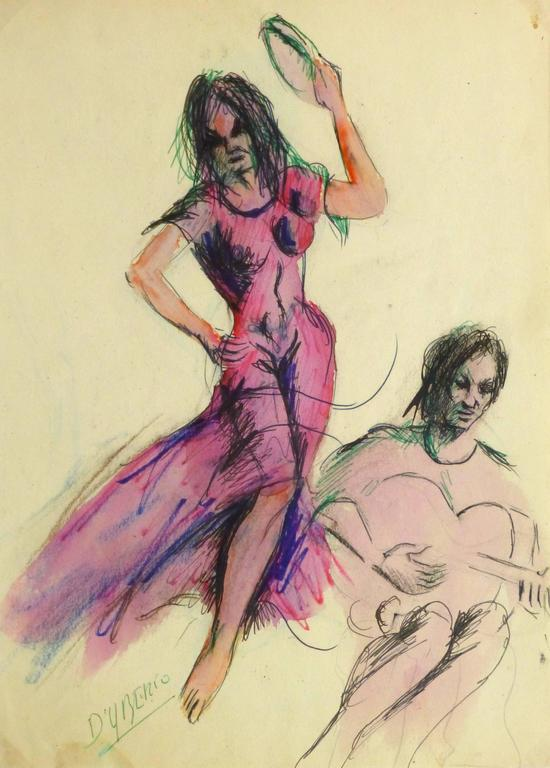 Vintage Watercolor and Ink Painting - Flamenco Dancer