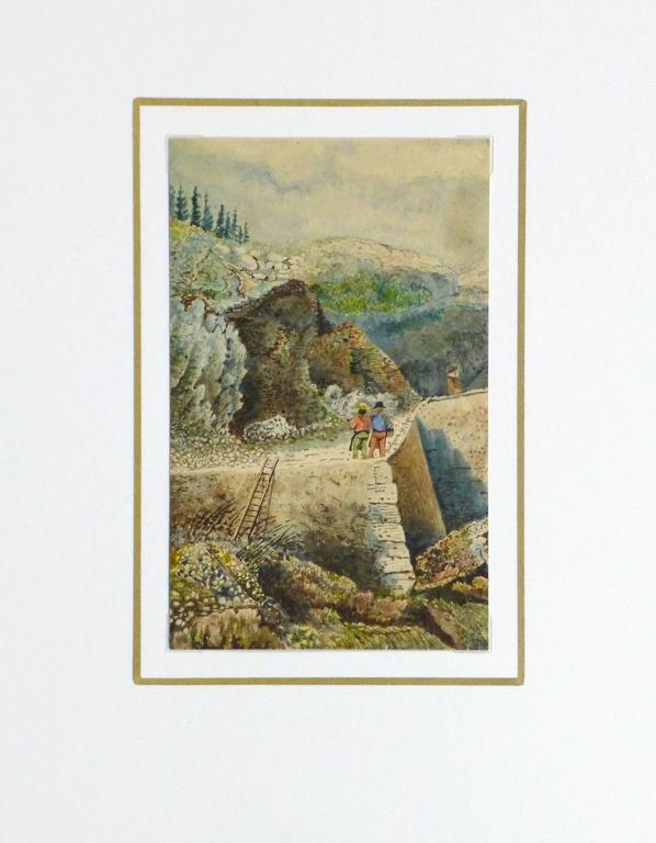 French watercolor of figures standing atop the stone wall remnants of castle overlooking a valley, circa 1850. Artist unknown.