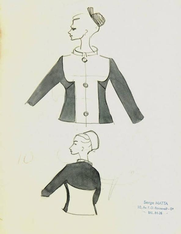 Vintage French Fashion Sketch - Two Tone Dress Jacket