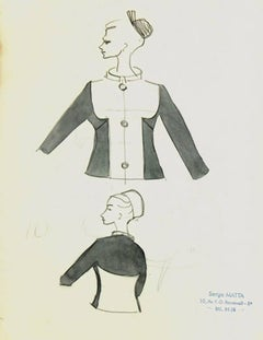 Vintage French Fashion Sketch - Two Tone Dress Jacket