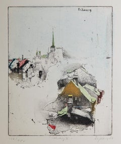 'Fribourg' by Alexander Befelein etching, cityscape, print