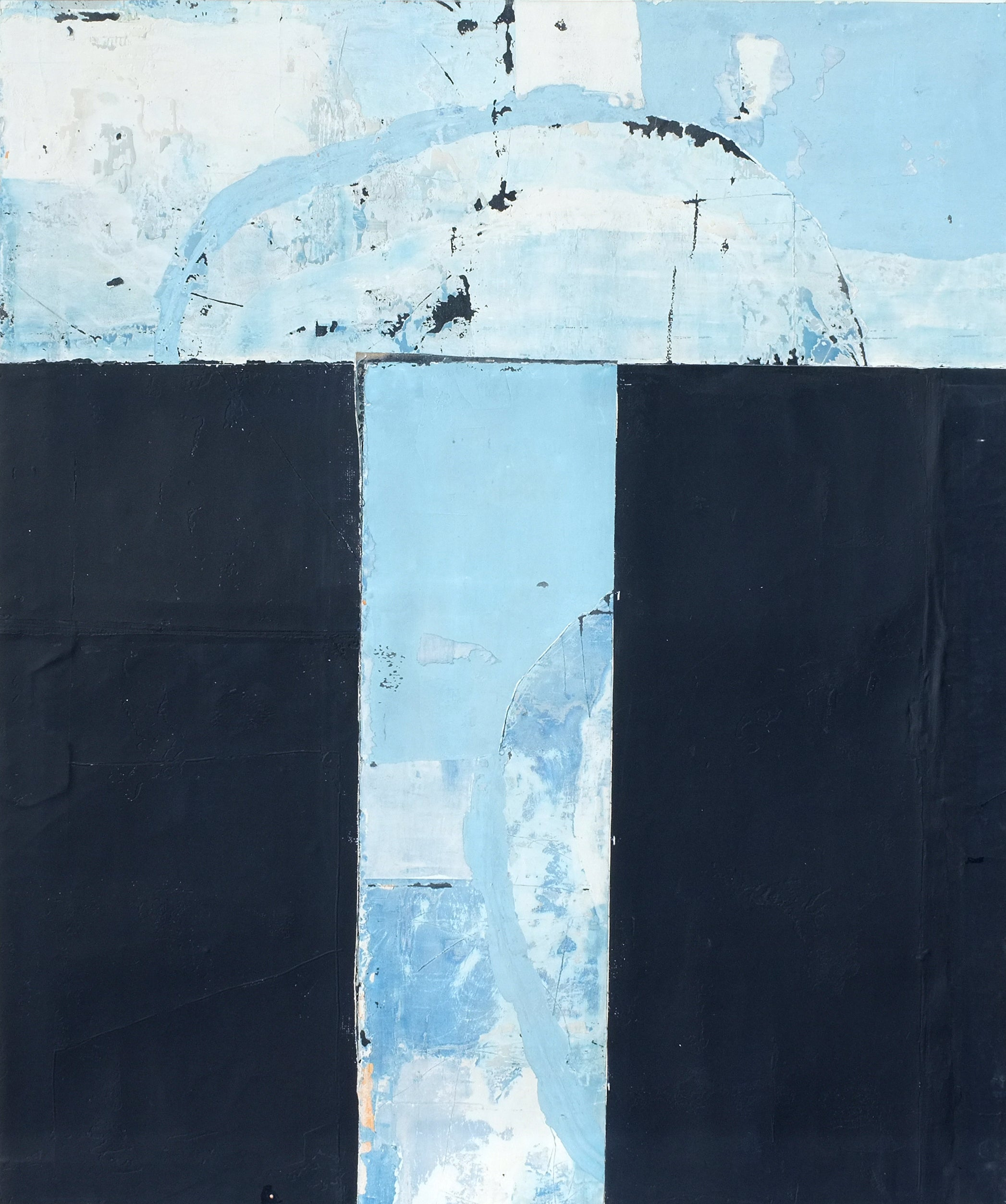 Blue Entrance, Contemporary Abstract Mixed media Collage Minimalist Blue Canvas