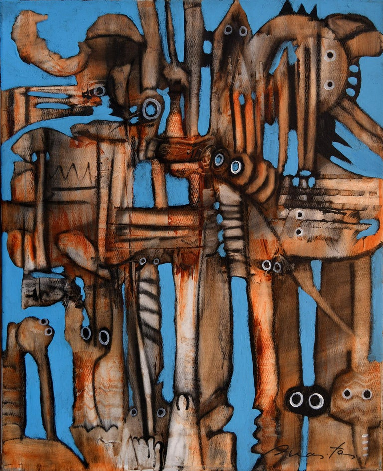 'Observers' by Rolando Duartes, abstract acrylic painting