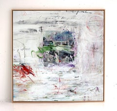 'In a Landscape' abstract mixed-media on wood by Stefan Heyer
