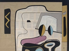 'True Story' by Bernard Simunovic, collage, acrylic on canvas, abstract