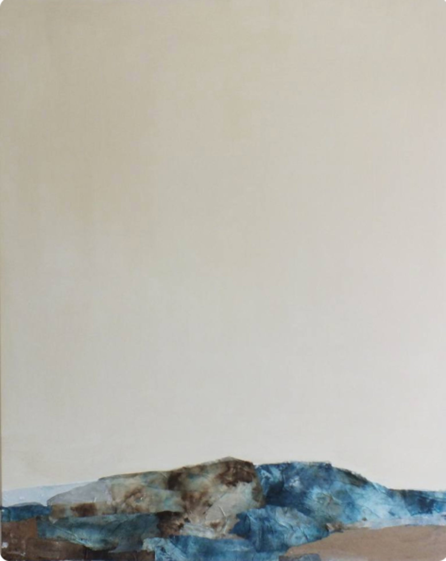 Landscape 50, Contemporary Minimalist Abstract Mixed media Blue Collage Canvas