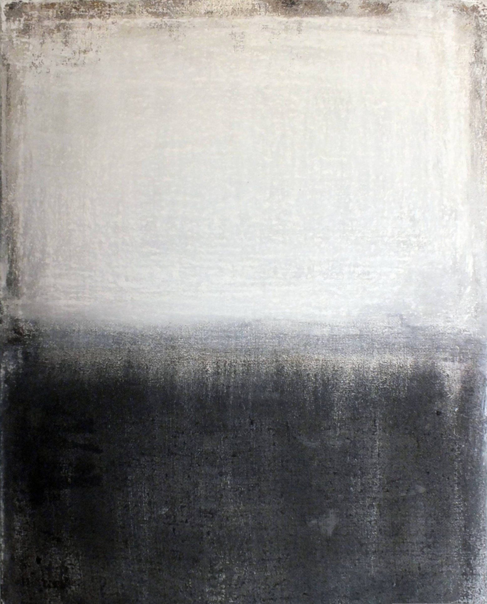 Landscape 21, Minimalist Mixed media Art Contemporary Abstract Black White