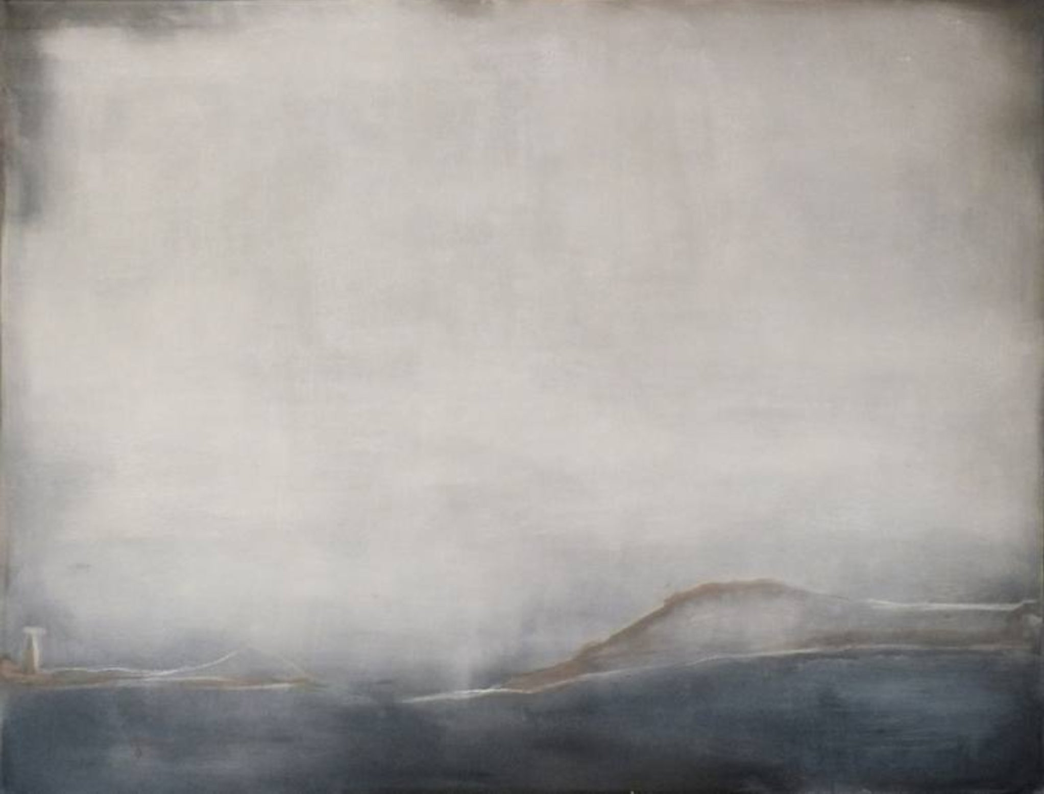 Landscape 38, Contemporary Minimalist Art Abstract Mixed media Painting Blue
