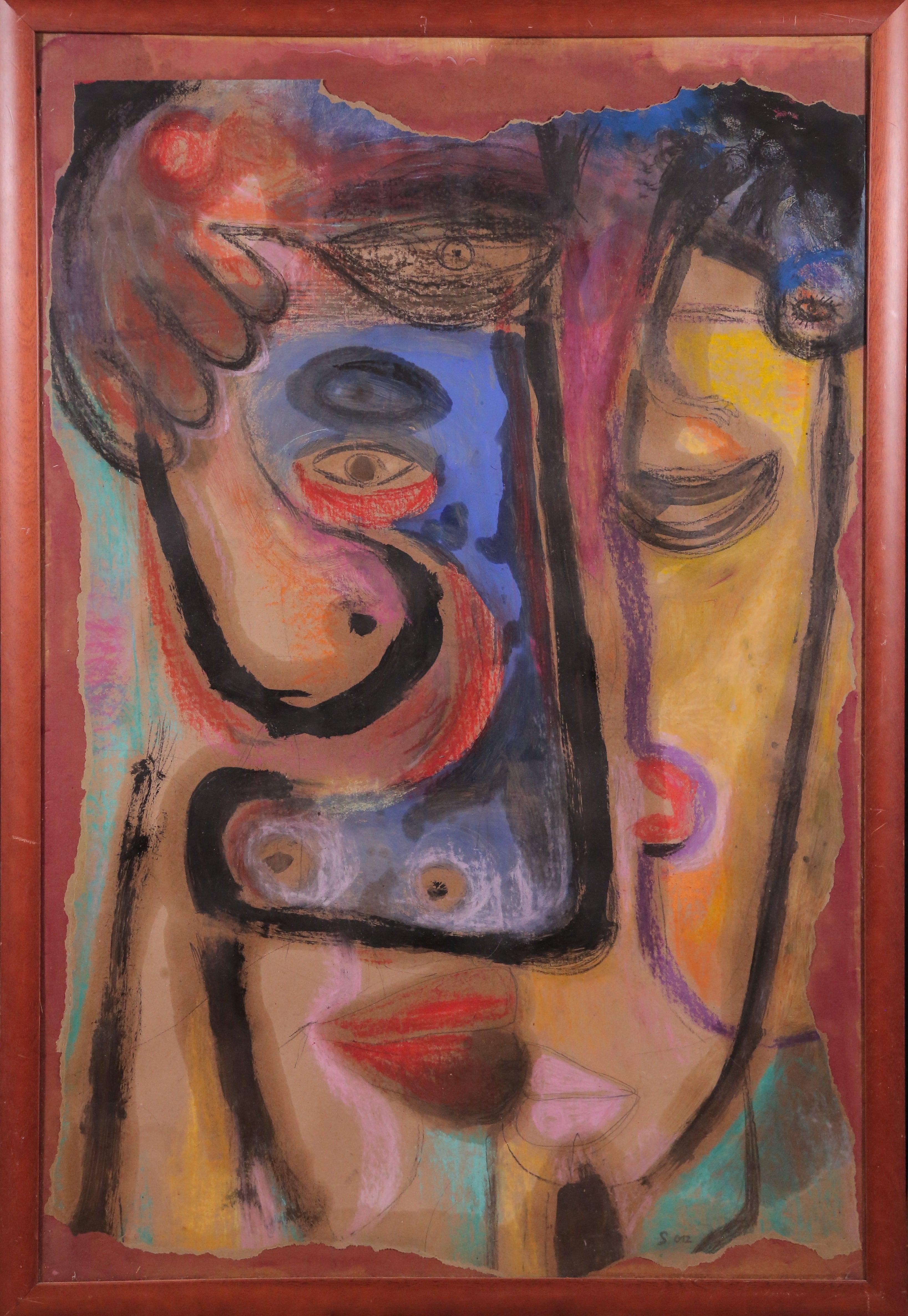 Dreamer II, Szilard Szilagyi, Abstract Expressionist Mixed media, Portrait, Red