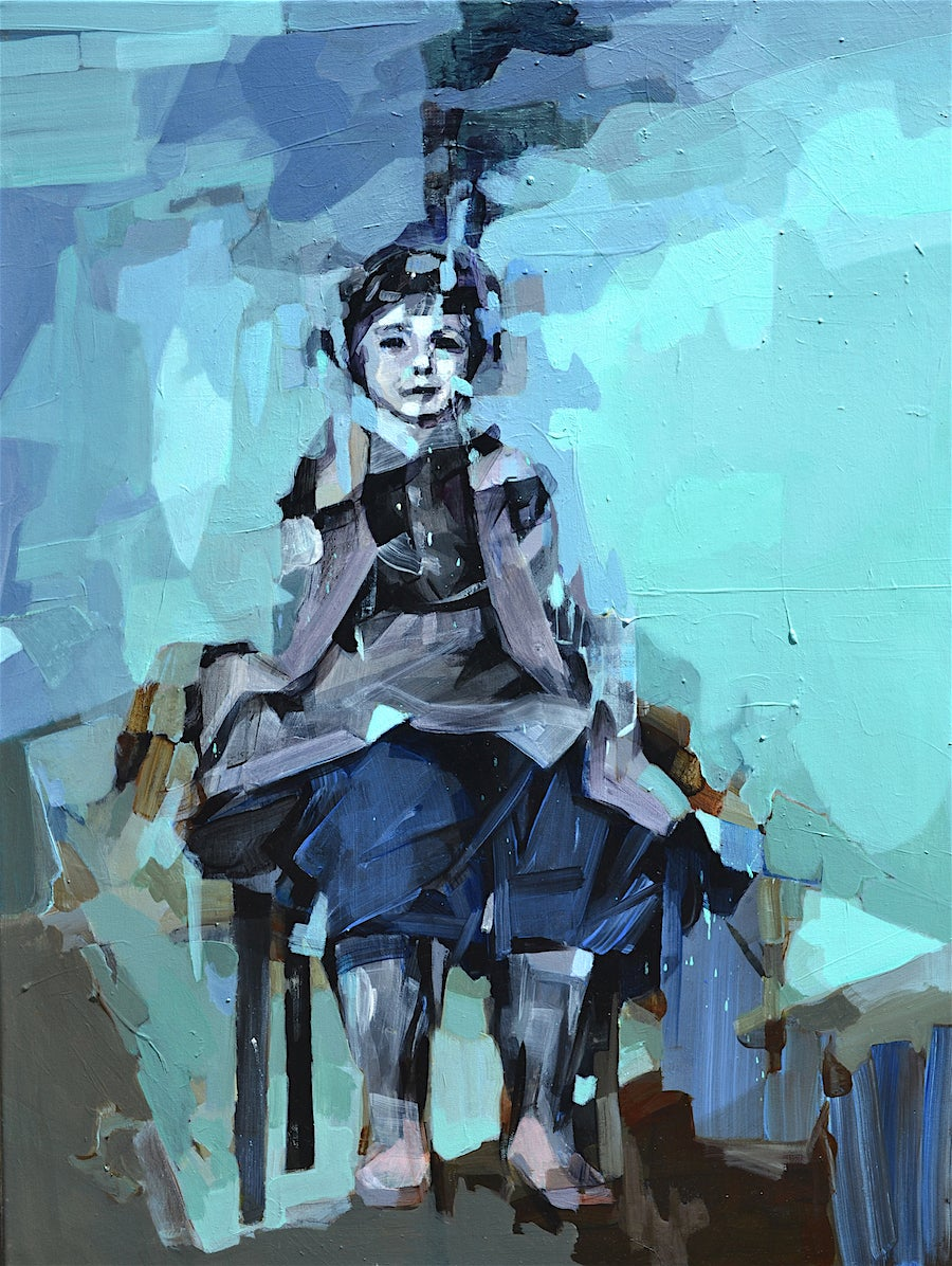 I'm Going to be a Pilot, Contemporary Abstract Portrait Girl Oil Painting Blue
