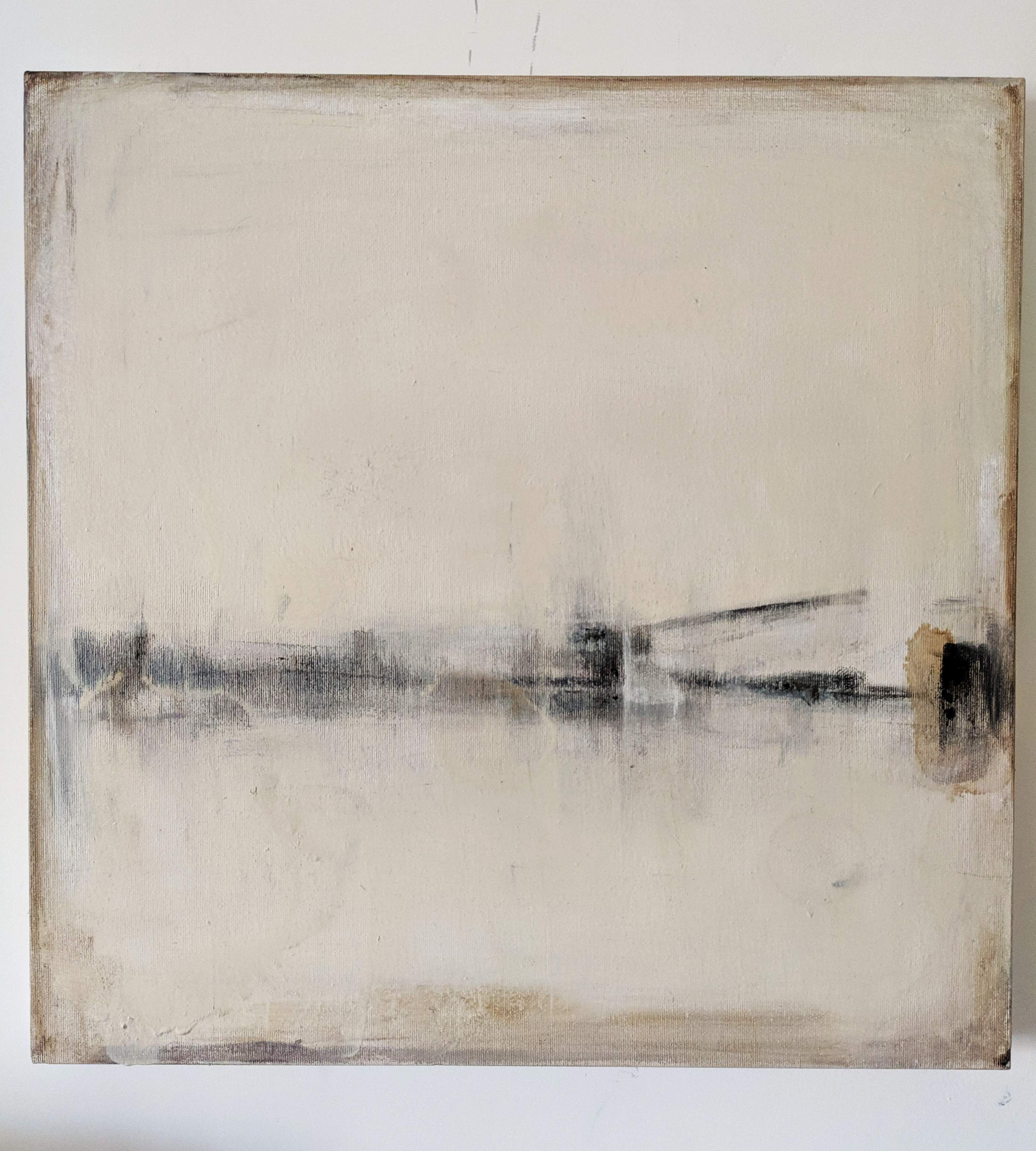Landscape 56, Contemporary Abstract Art Mixed Media Minimalist Monochrome White
