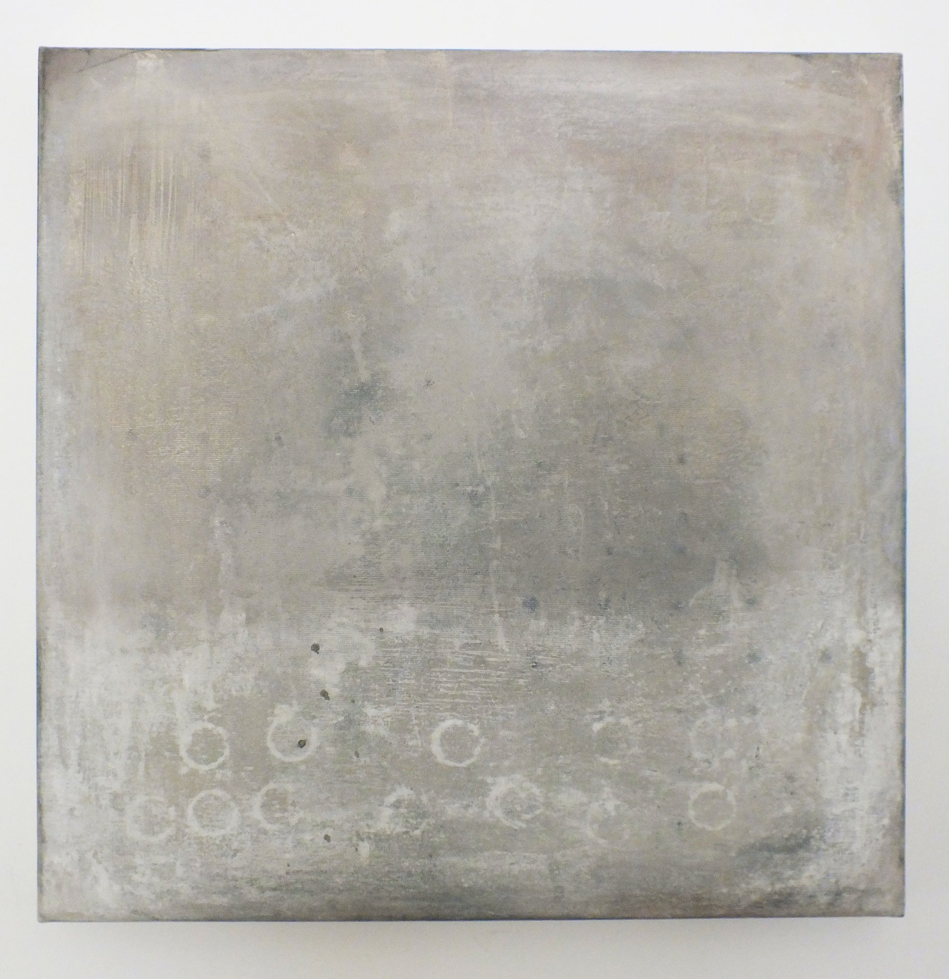 Landscape 57, Contemporary Minimalist Art Abstract Mixed Media Canvas Gray Grey