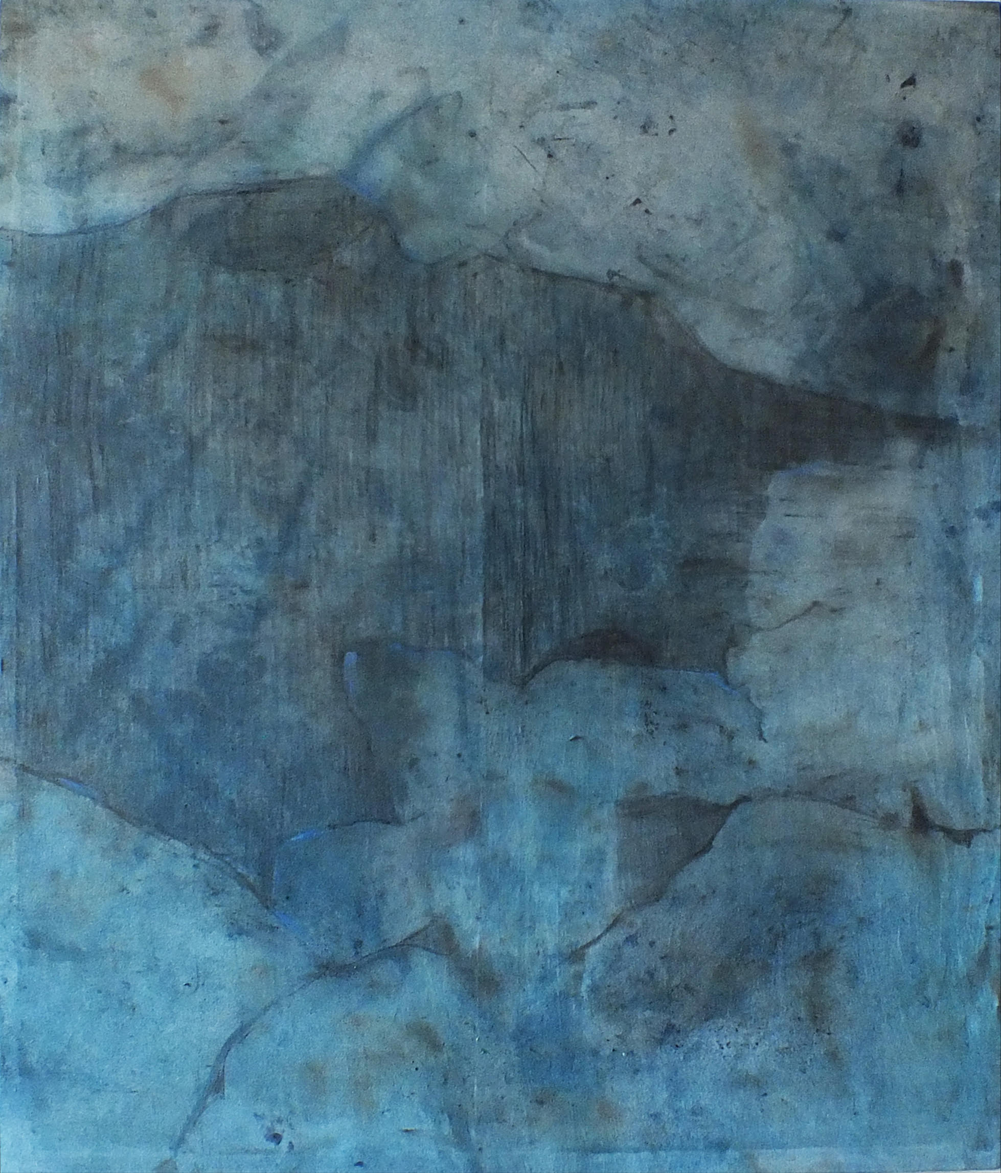 Landscape 70, Contemporary Minimalist Abstract Oil Painting Blue Canvas Graphite