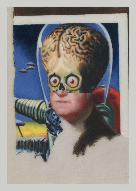 Adam Mysock Figurative Painting - Early American Aliens (George Washington)