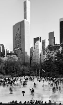 Central Park, New York City Black and White Photograph, Ice Skating