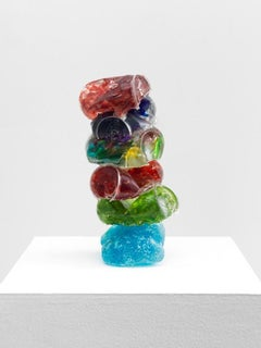 """5 Pack on a Roman Rock, 2017, Broken glass cast in resin with steel, 11 x 5 x 5"""""""