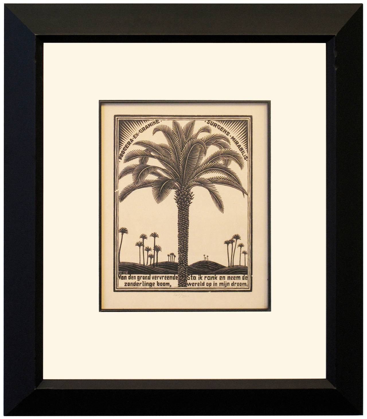 Emblemata - Palm Tree, - Surrealist Print by M.C. (Maurits Cornelius) Escher