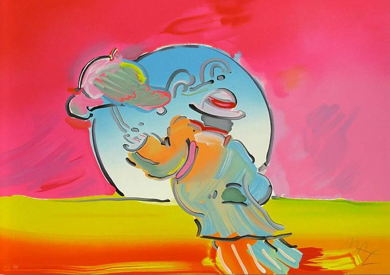 Peter Max Figurative Print - Umbrella Man