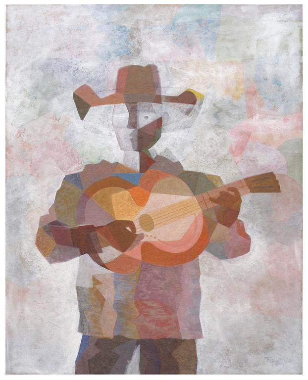 Romeo Villalva Tabuena Figurative Painting - Guitar Player with Hat