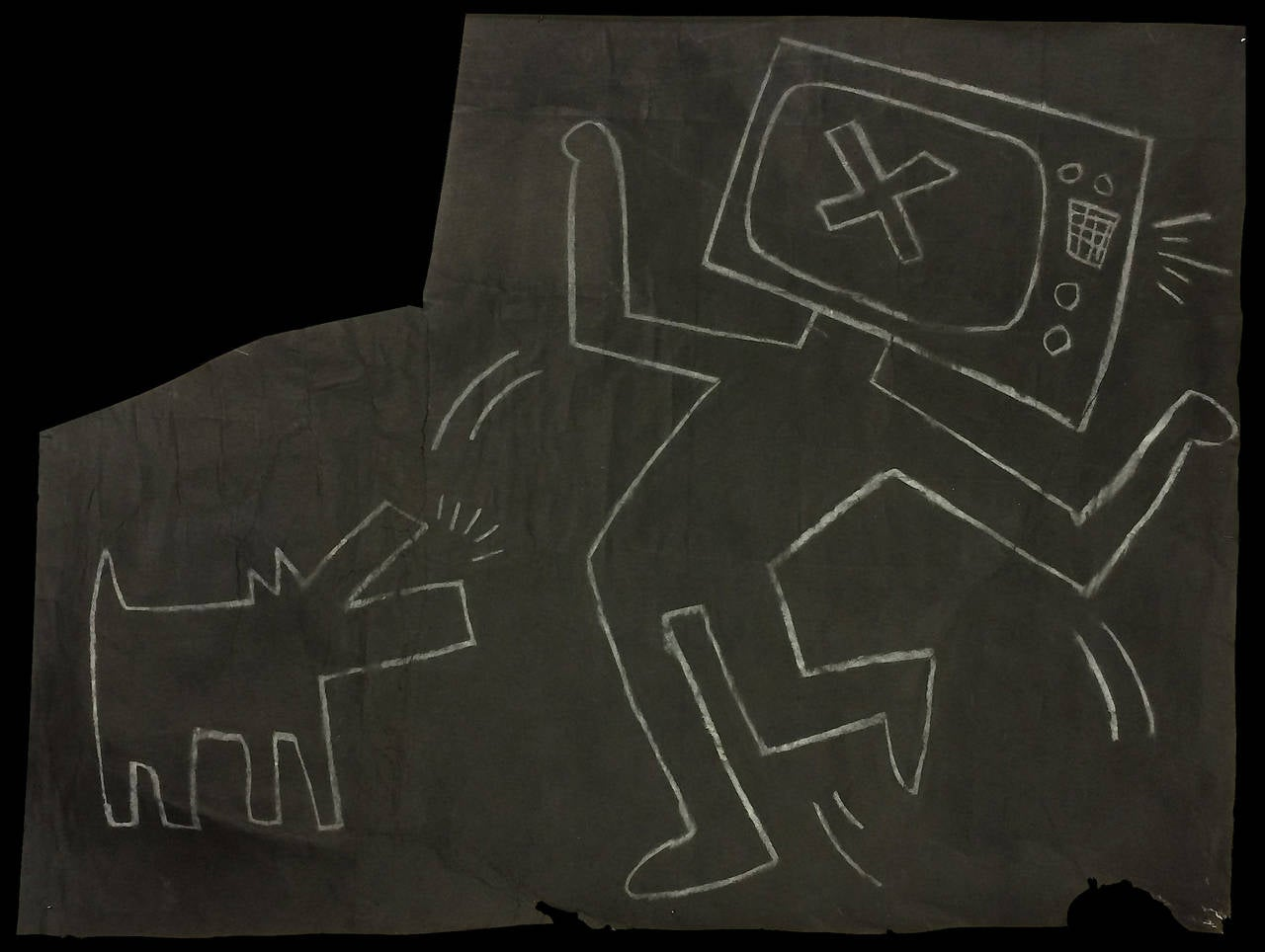 Keith Haring Figurative Art - TV Man with Barking Dog