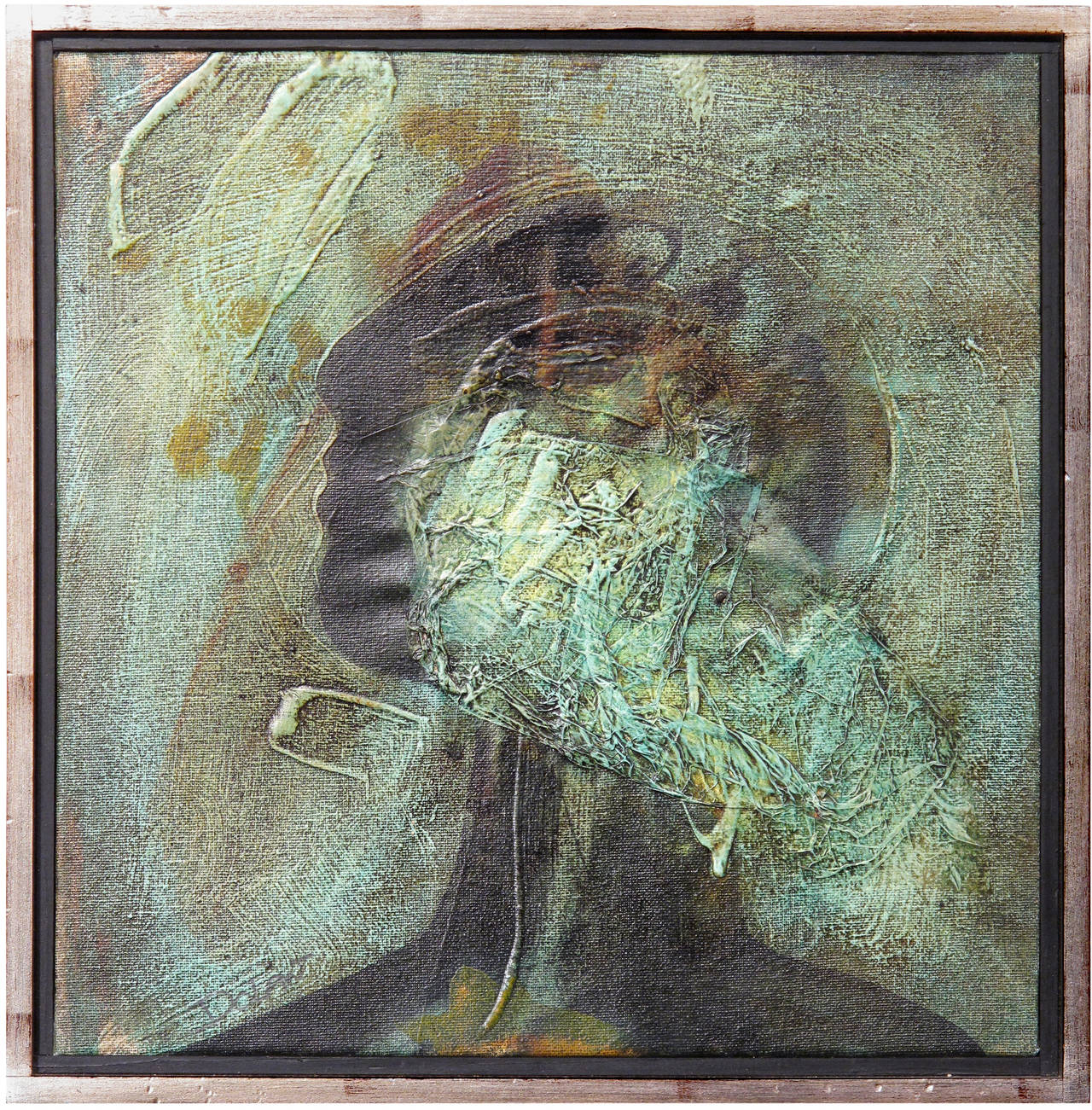 Portrait in Green with Veil - Painting by Chrissy Dolan Terrasi