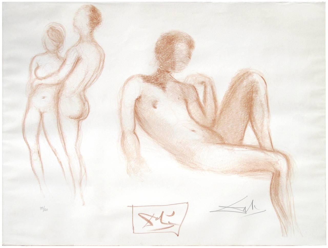 Salvador Dalí Figurative Print - Nudes