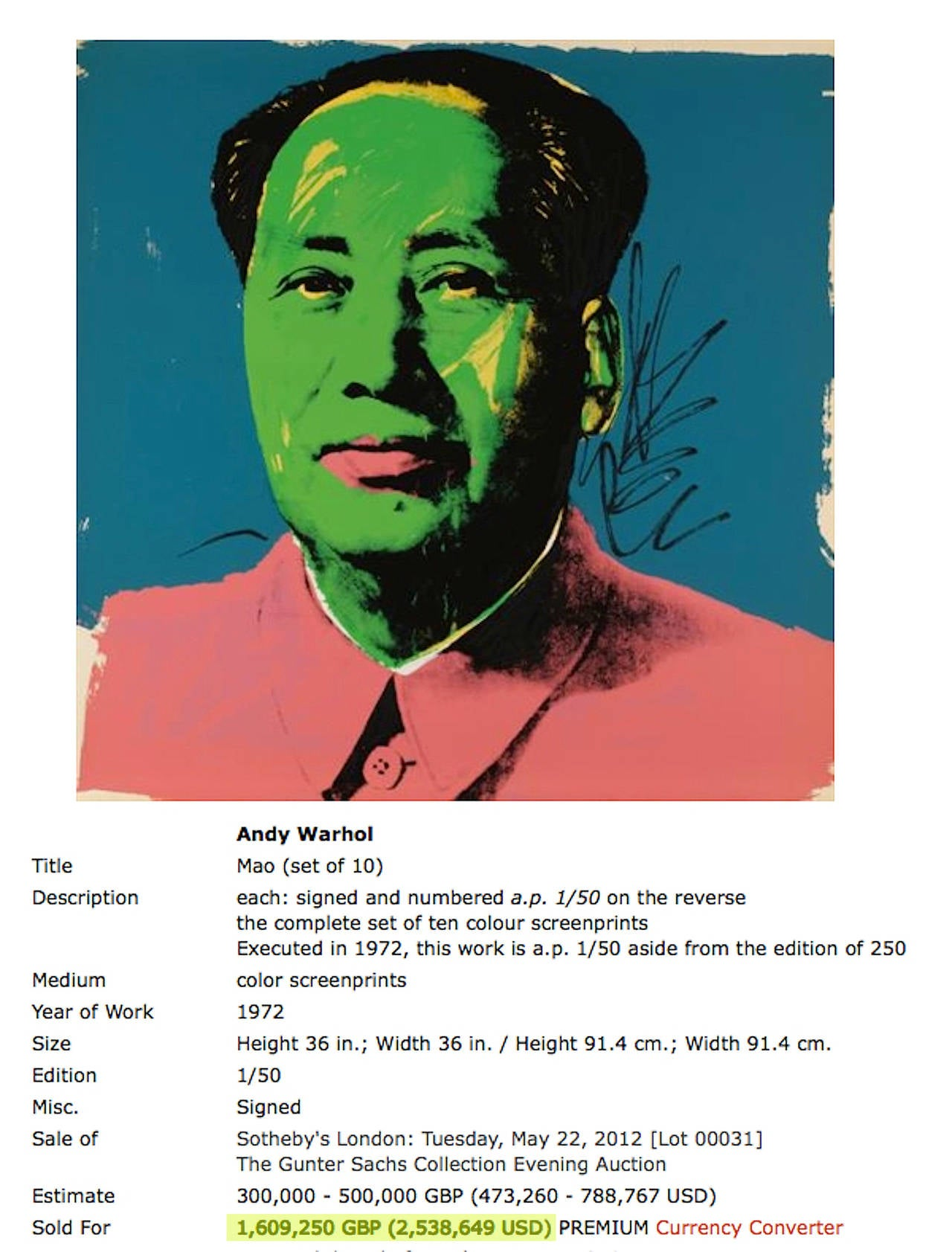 Mao, suite of 10 - Pop Art Print by Andy Warhol