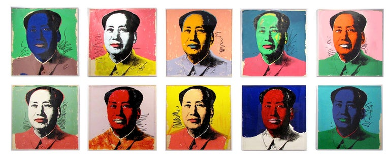 Andy Warhol Portrait Print - Mao, suite of 10