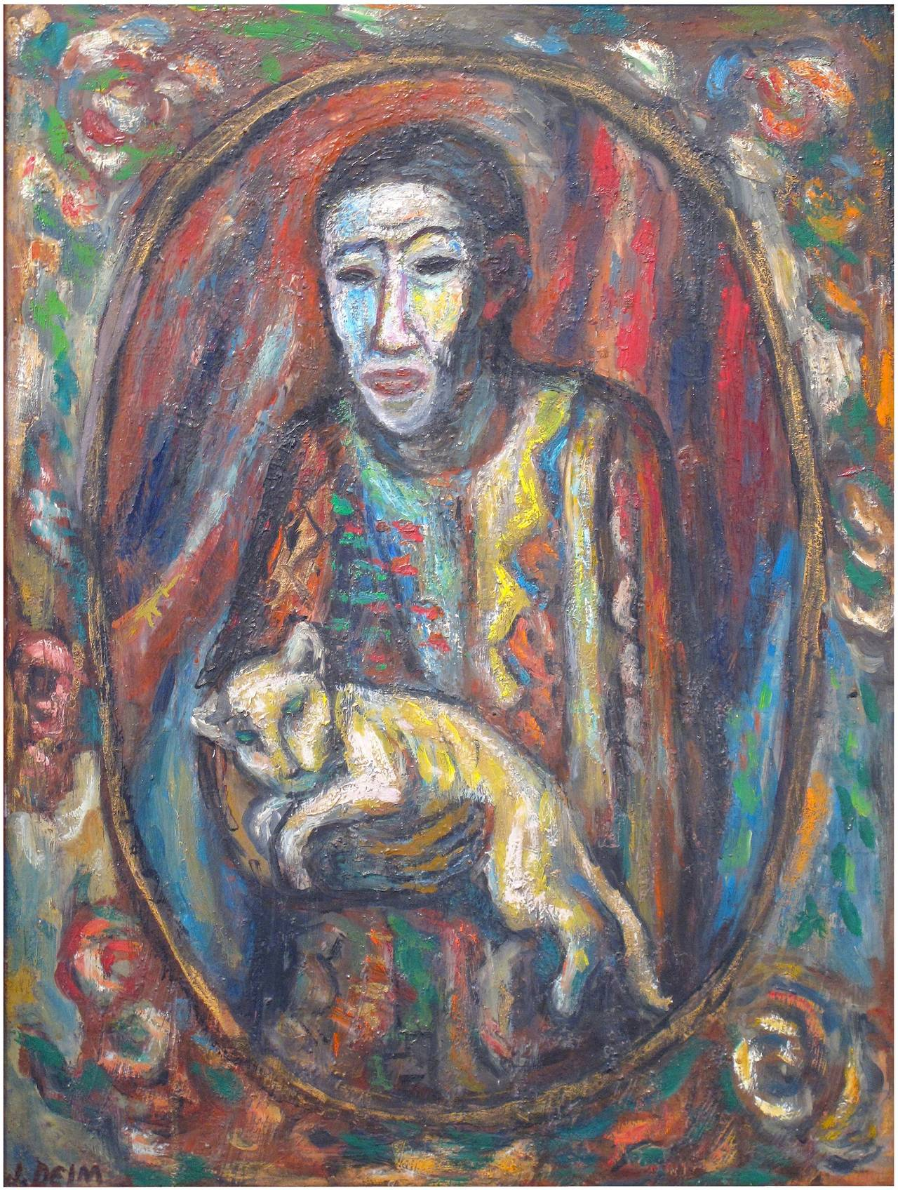 Self-Portrait with Cat - Painting by Judith Deim