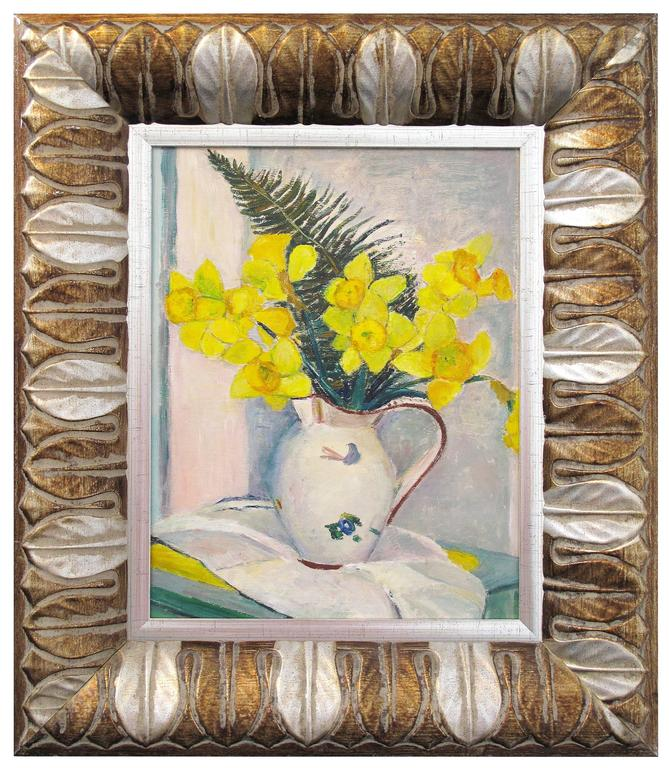 "In ""Still Life with Daffodils,"" bright yellow blossoms stand in a white jug against a subdued background. The light and impressionistic detailing, particularly on the jug and in the folds of the tablecloth, indicate the influence of European"