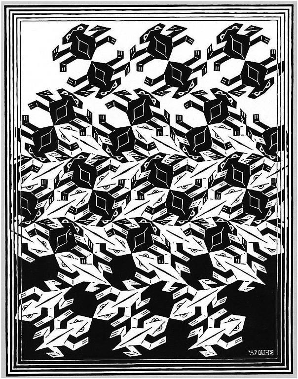 m c escher regular division of the plane v ants and lizards print for sale at 1stdibs. Black Bedroom Furniture Sets. Home Design Ideas